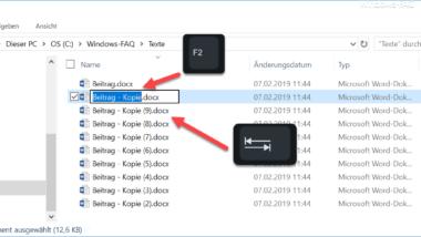 Schnell Dateien umbenennen im Explorer mit F2 und der TAB-Taste