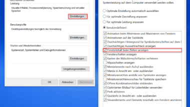 Fensterinhalt nicht anzeigen beim Verschieben von Windows Fenstern