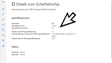 Informationen zum TPM-Chip (Trusted Platform Module) abrufen unter Windows