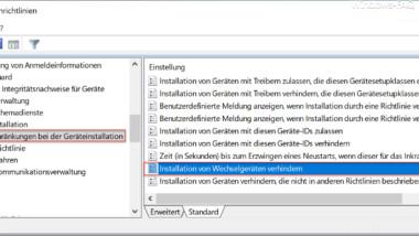 Installation von USB Wechselgeräten verhindern per GPO bei Windows 10