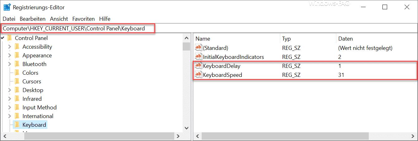 KeyboardDelay KeyboardSpeed