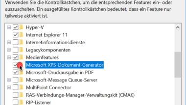 XPS Dokument Writer installieren oder deinstallieren unter Windows