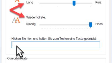 Tastatur Verzögerung und Wiederholrate unter Windows einstellen
