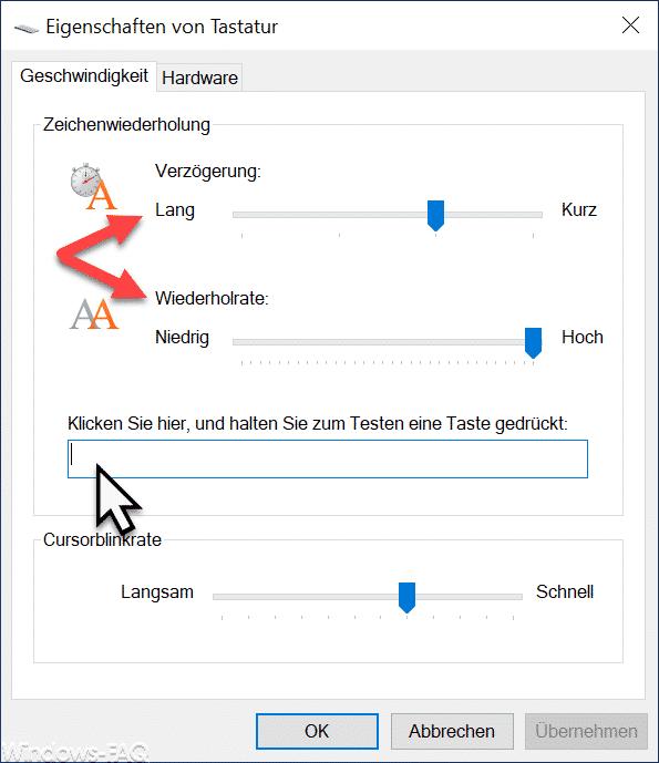 Tastatur Verzögerung und Wiederholrate
