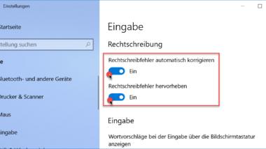 Windows 10 Rechtschreibprüfung ausschalten