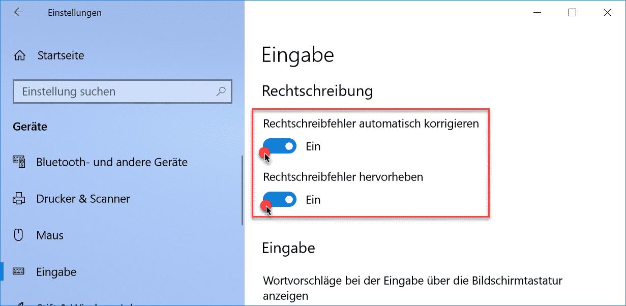 Windows 10 Rechtschreibung