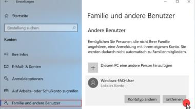 Benutzerkonto löschen unter Windows 10