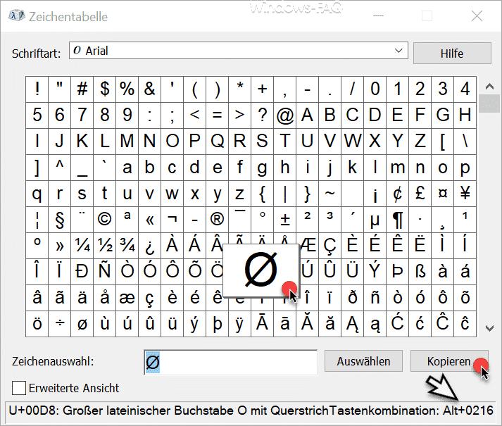 Windows Zeichentabelle mit ALT Code