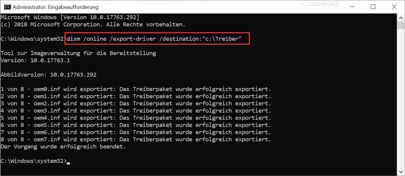 Treiber Export