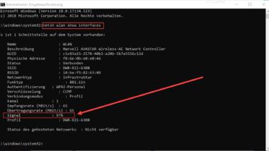 WLAN Signalstärke anzeigen unter Windows 10