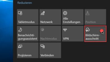 Screenclip Bildschirmausschnitt (Hardcopy, Screenshot) direkt aus dem Windows 10 Benachrichtigungscenter erstellen