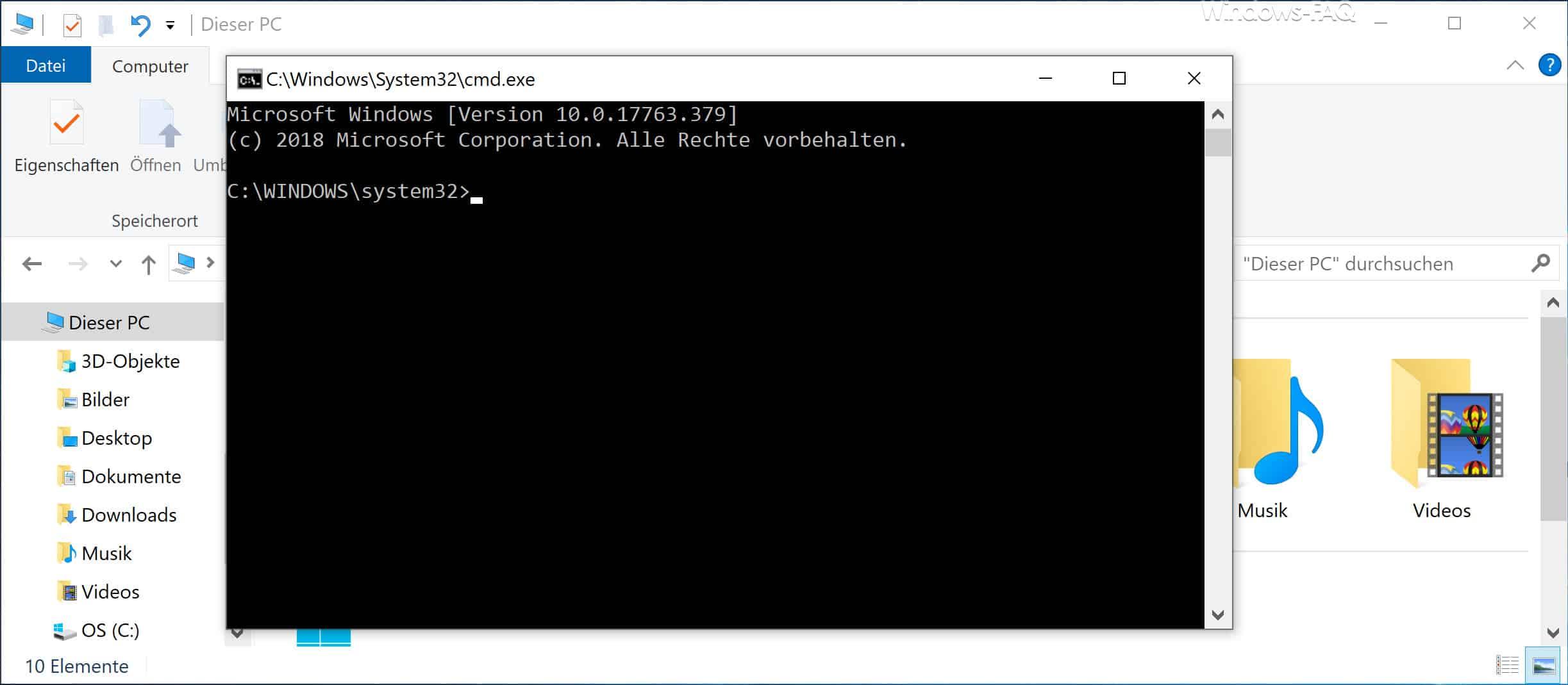 CMD direkt auf Windows Explorer aufrufen