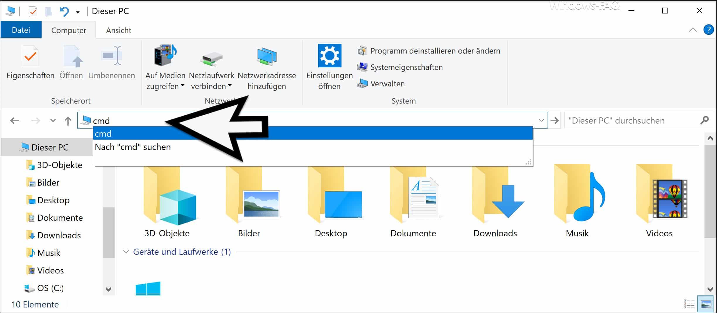 CMD in Explorer Adressleiste eingeben