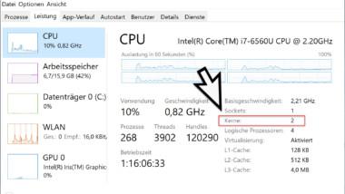 Anzahl der CPU Kerne und logischen Prozessoren abfragen