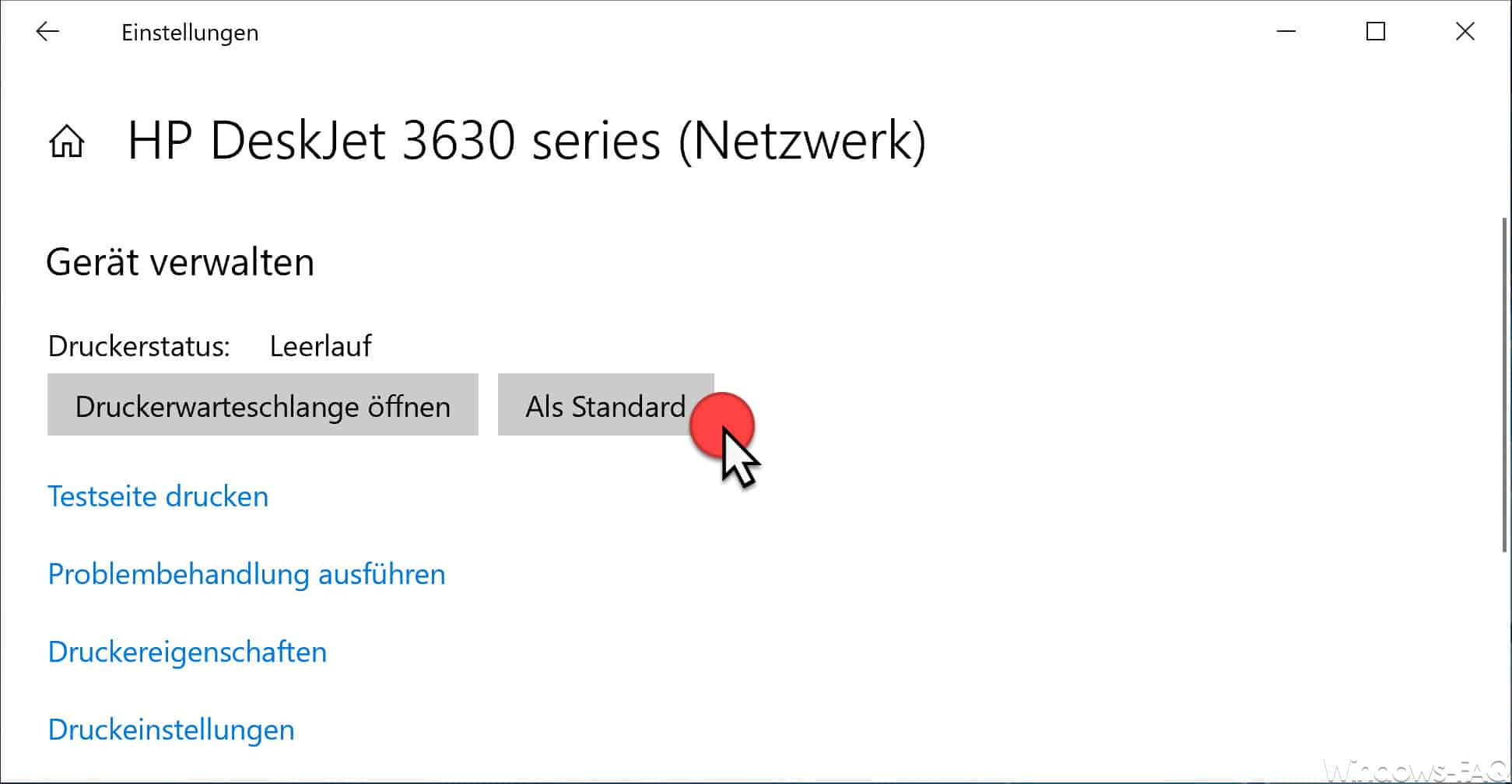 Drucker als Standard festlegen Windows 10