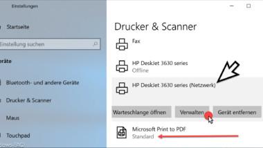 Standarddrucker einstellen unter Windows 10