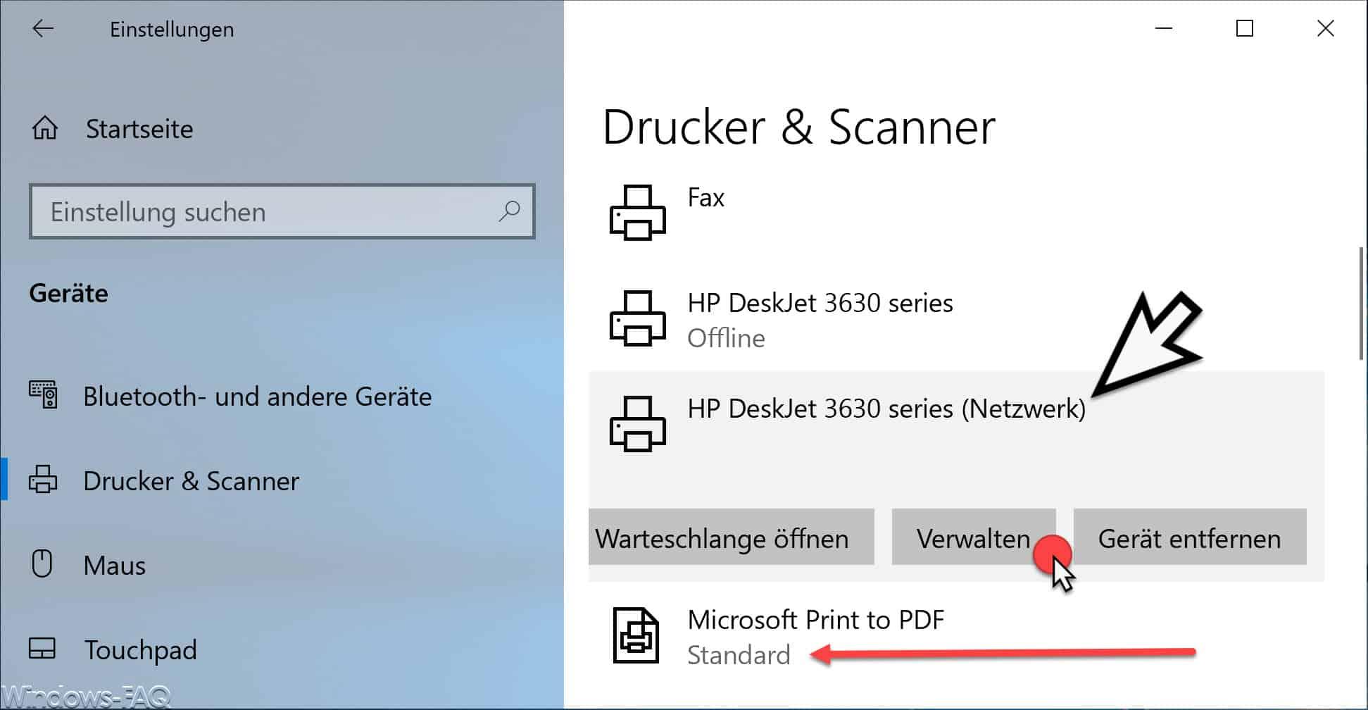 Drucker verwalten Windows 10