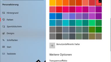 Farbe der Taskleiste ändern bei Windows 10
