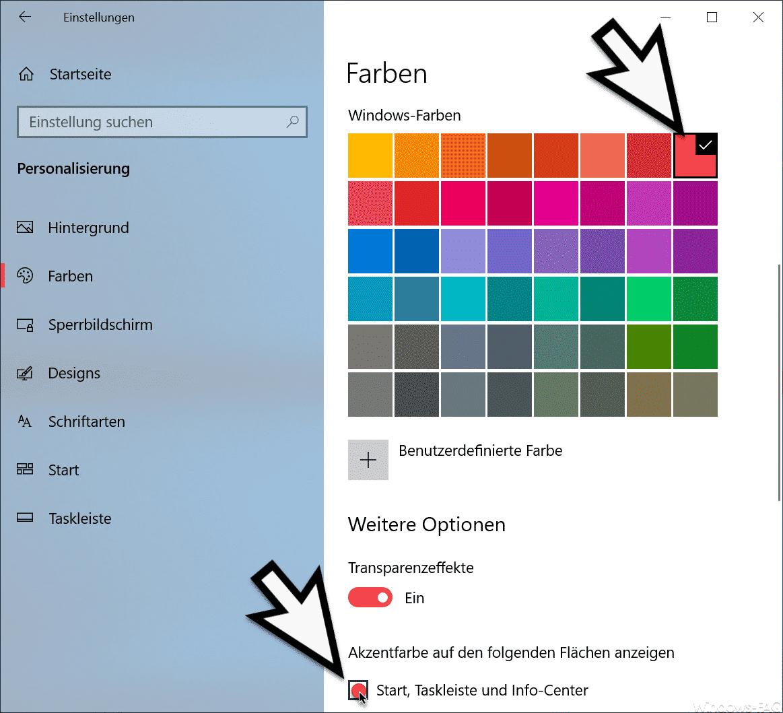 Farbe der Taskleiste festlegen