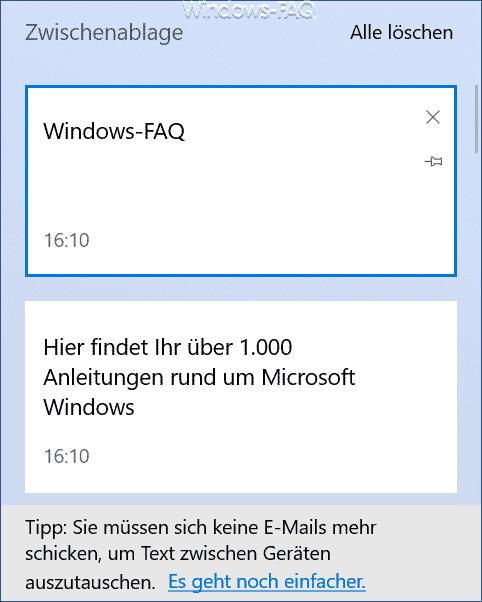 Inhalt der Windows Zwischenablage