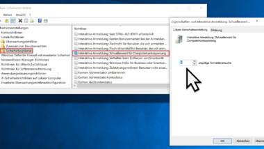 Computer sperren und neu starten nach mehrfacher Eingabe eines falschen Kennwortes