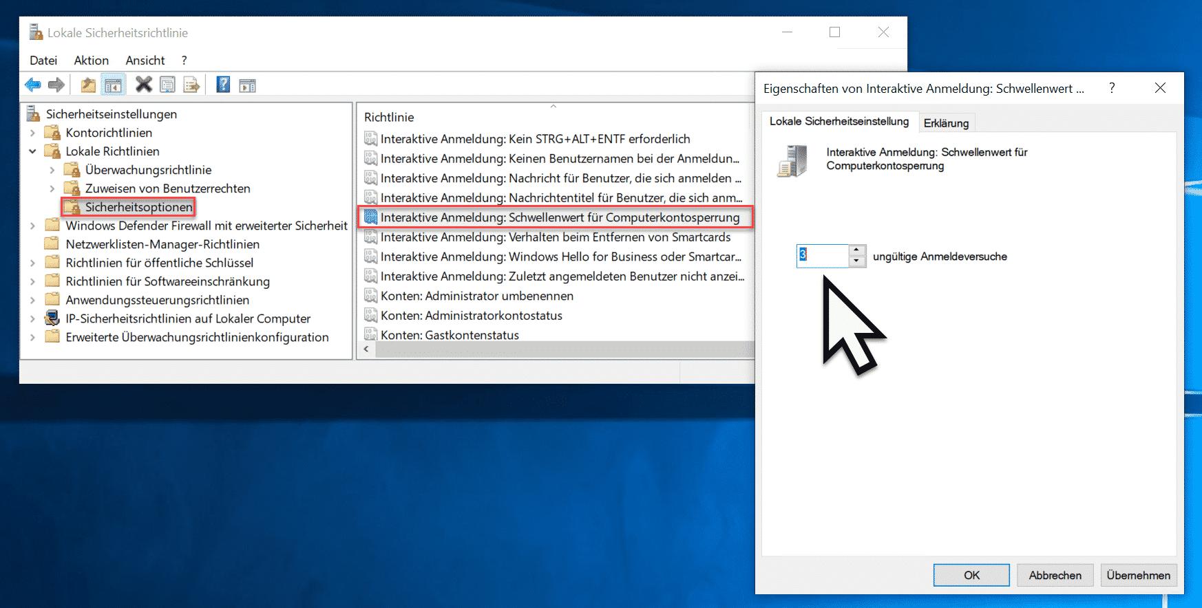 Interaktive Anmeldung Schwellenwert für Computerkontosperrung