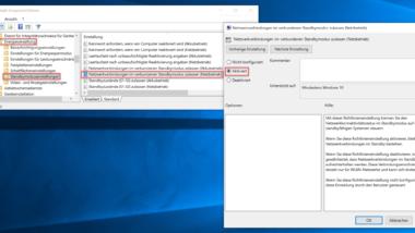 Netzwerkverbindungen im Standby nicht trennen bei Windows