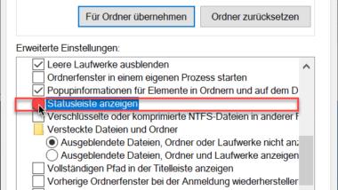 Statusleiste im Windows Explorer einblenden oder ausblenden