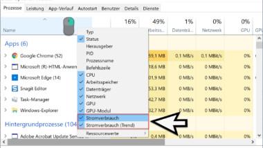 Im Windows Taskmanager den Stromverbrauch der Programme anzeigen lassen