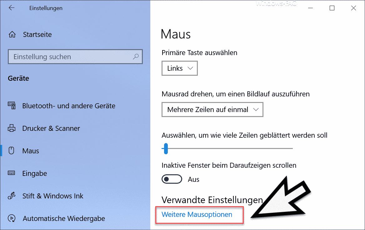 Weitere Mausoptionen in den Windows 10 Einstellungen