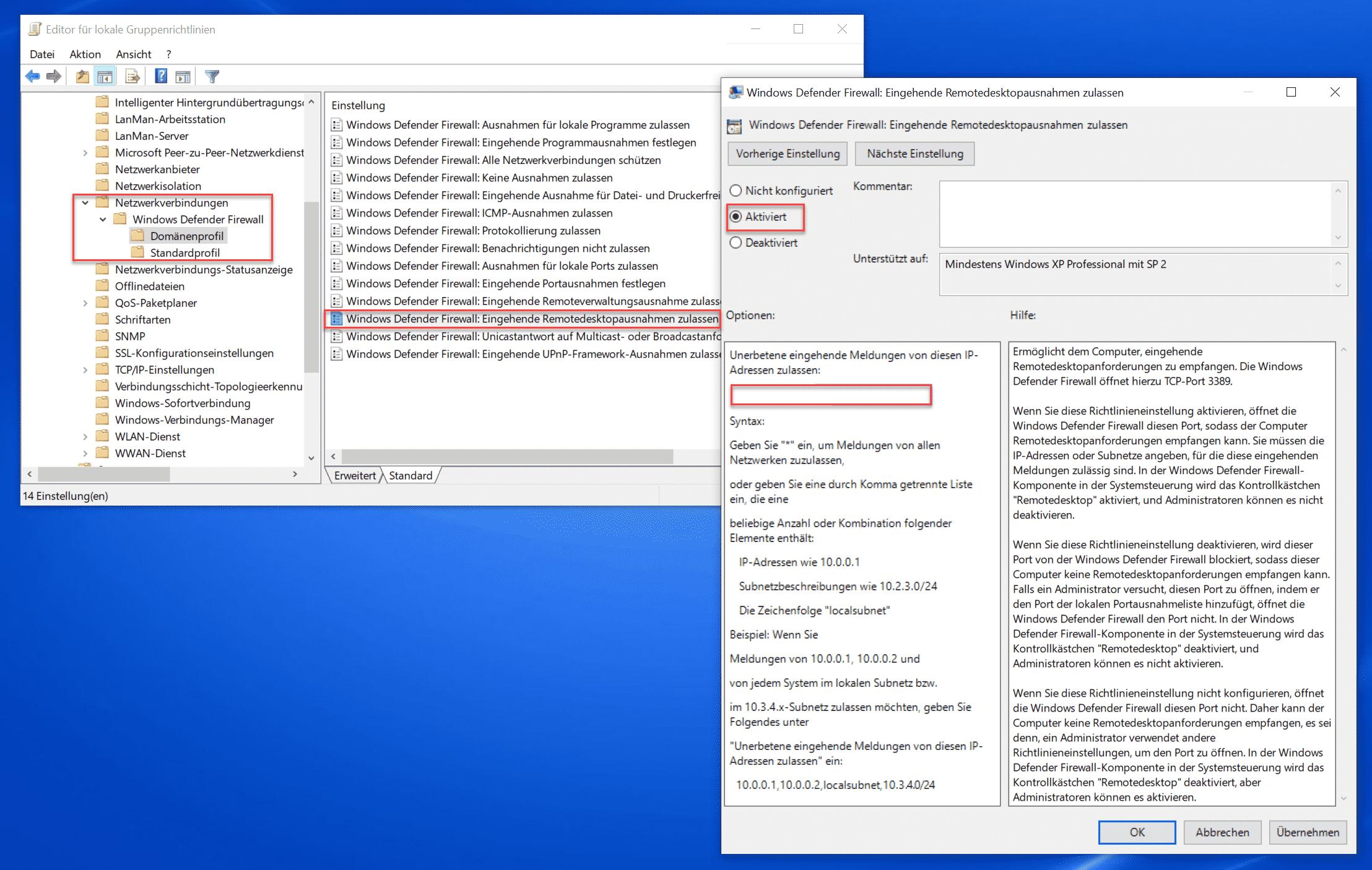 Windows Defender Firewall Eingehende Remotedesktopausnahmen zulassen