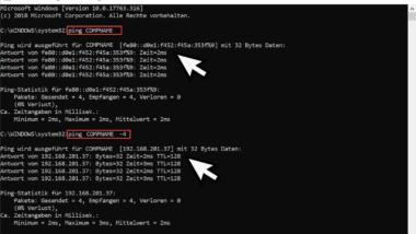Mit Ping die IPv4 und IPv6 Adresse abfragen