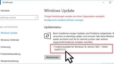 Windows Update Fehlercode 0x80070157