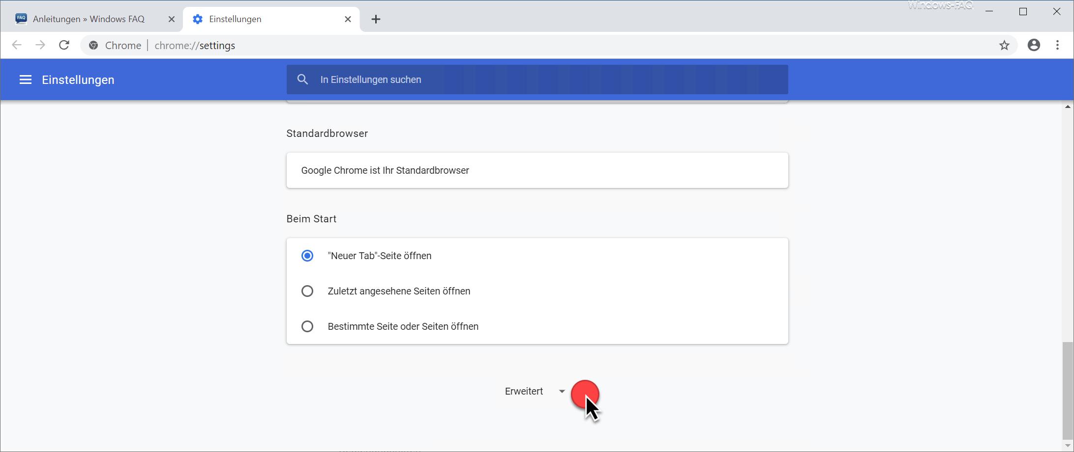 Chrome erweiterte Einstellungen