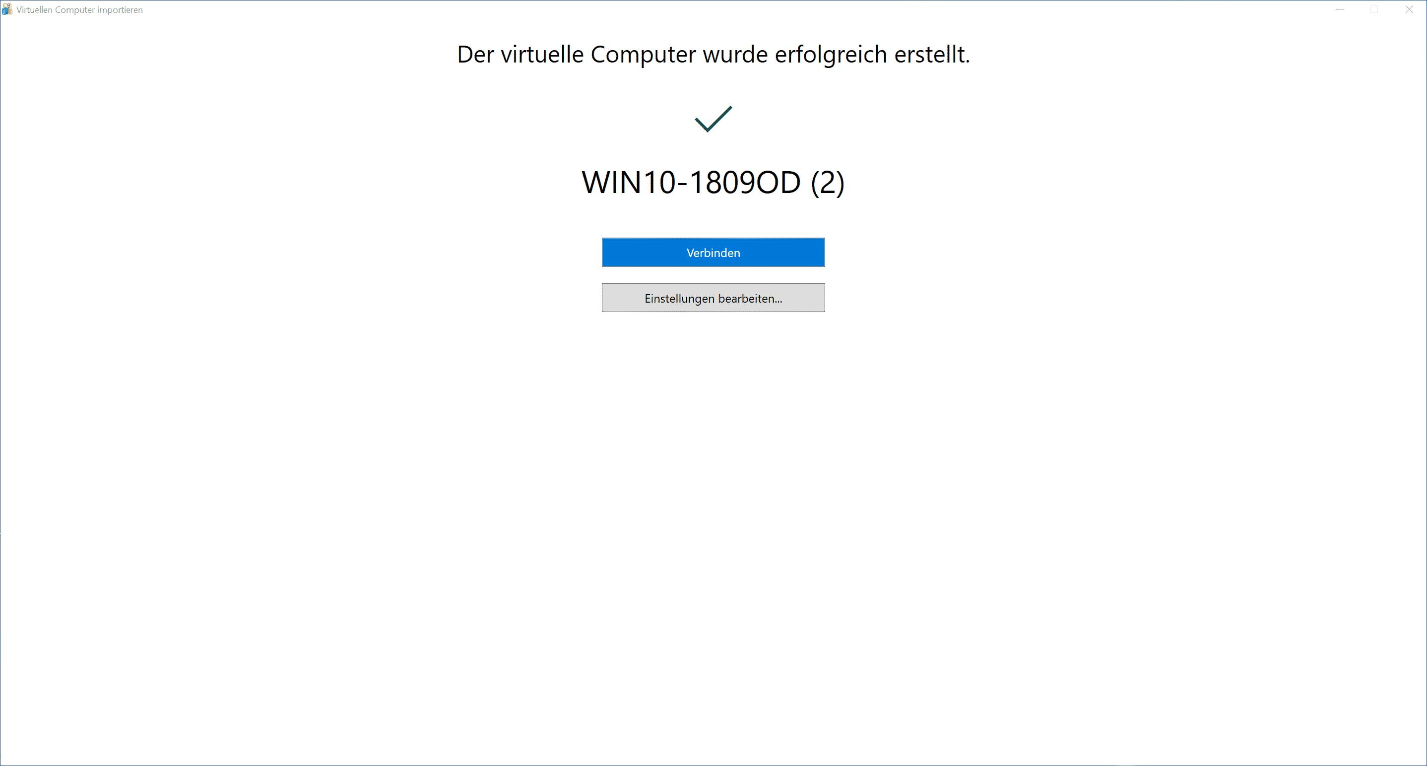 Der virtuelle Computer wurde erfolgreich erstellt