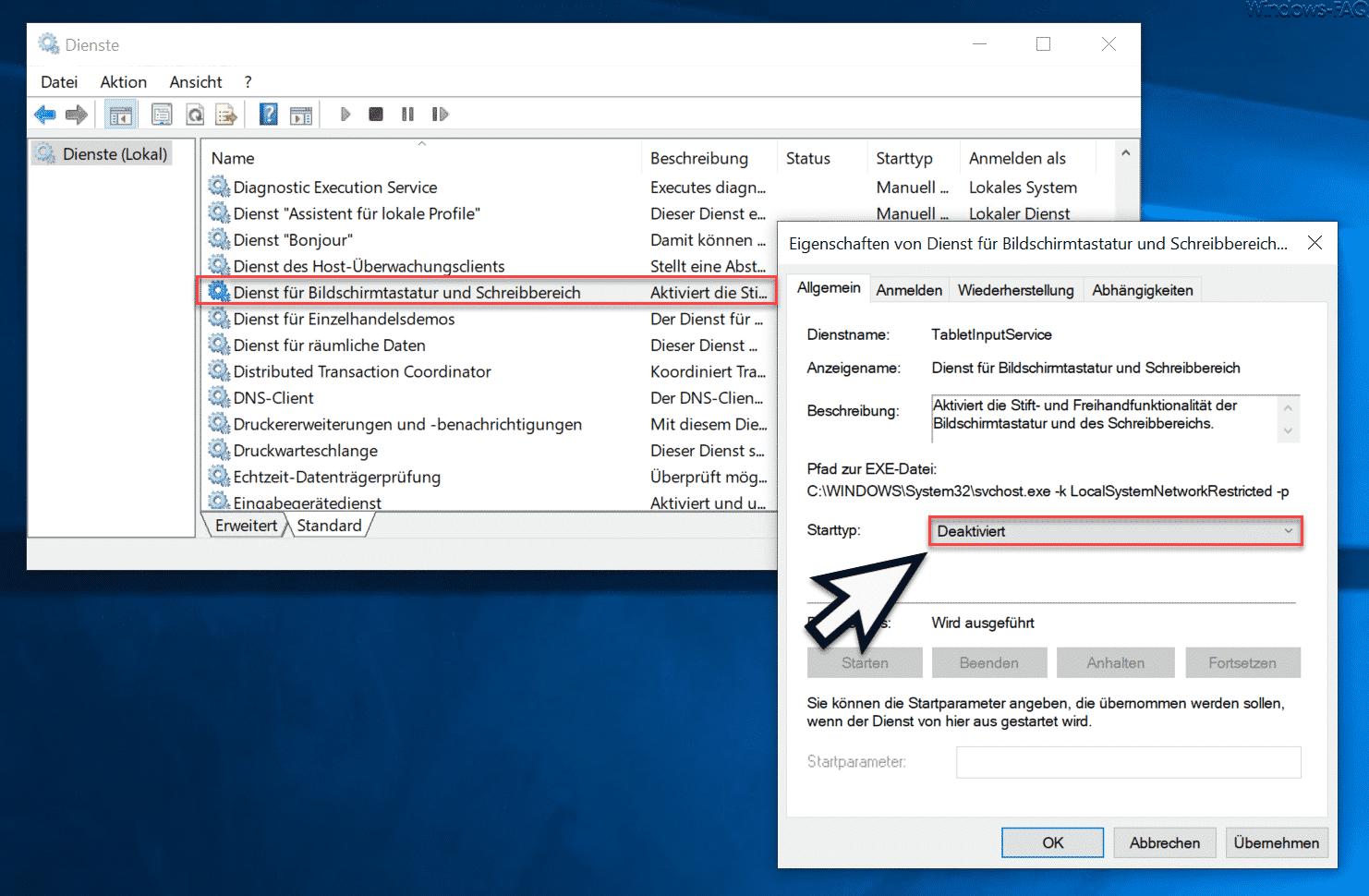 Dienst für Bildschirmtastatur und Schreibbereich deaktivieren (TabletInputService)