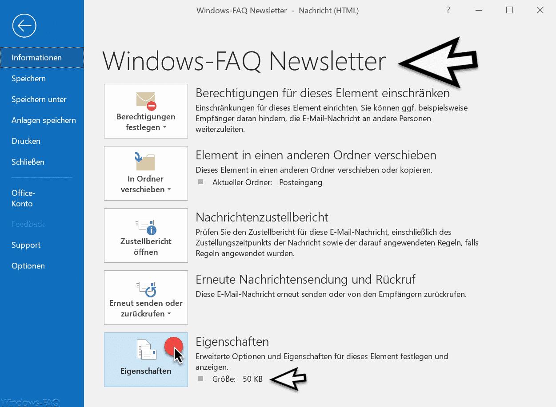 E-Mail Eigenschaften Outlook 2016 Office 365