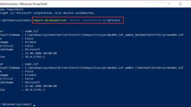 Windows Treiber exportieren mit der PowerShell