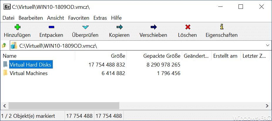 Hyper-V VMCZ Datei in 7zip geöffnet