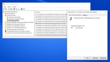 Per Sicherheitsrichtlinie oder Registry festlegen nach wie viel Sekunden sich der PC sperren soll