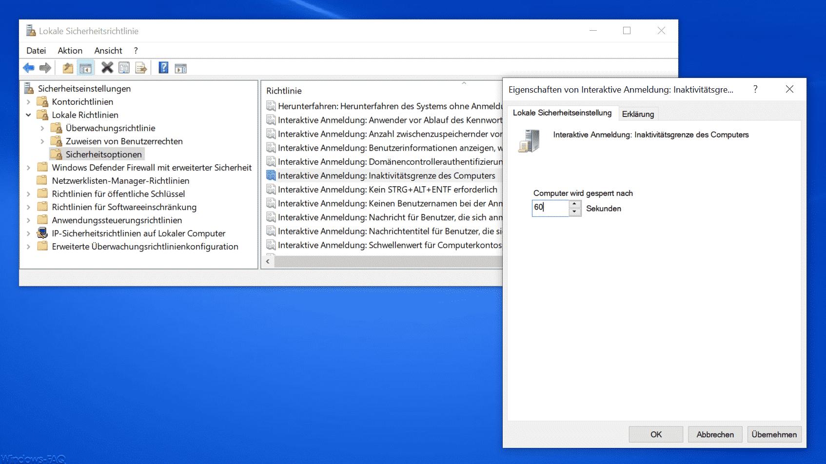 Interaktive Anmeldung Inaktivitätsgrenze des Computers