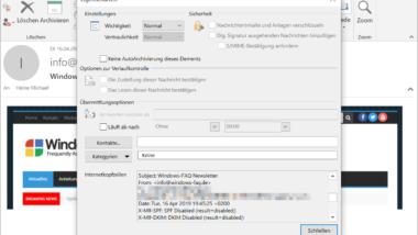 E-Mail Eigenschaften aufrufen bei Outlook 2016 / Office 365