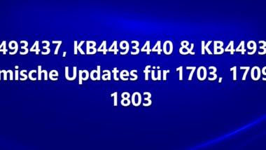 KB4493437, KB4493440 & KB4493436 als neue dynamische Updates für Windows 10 1803, 1709 und 1703