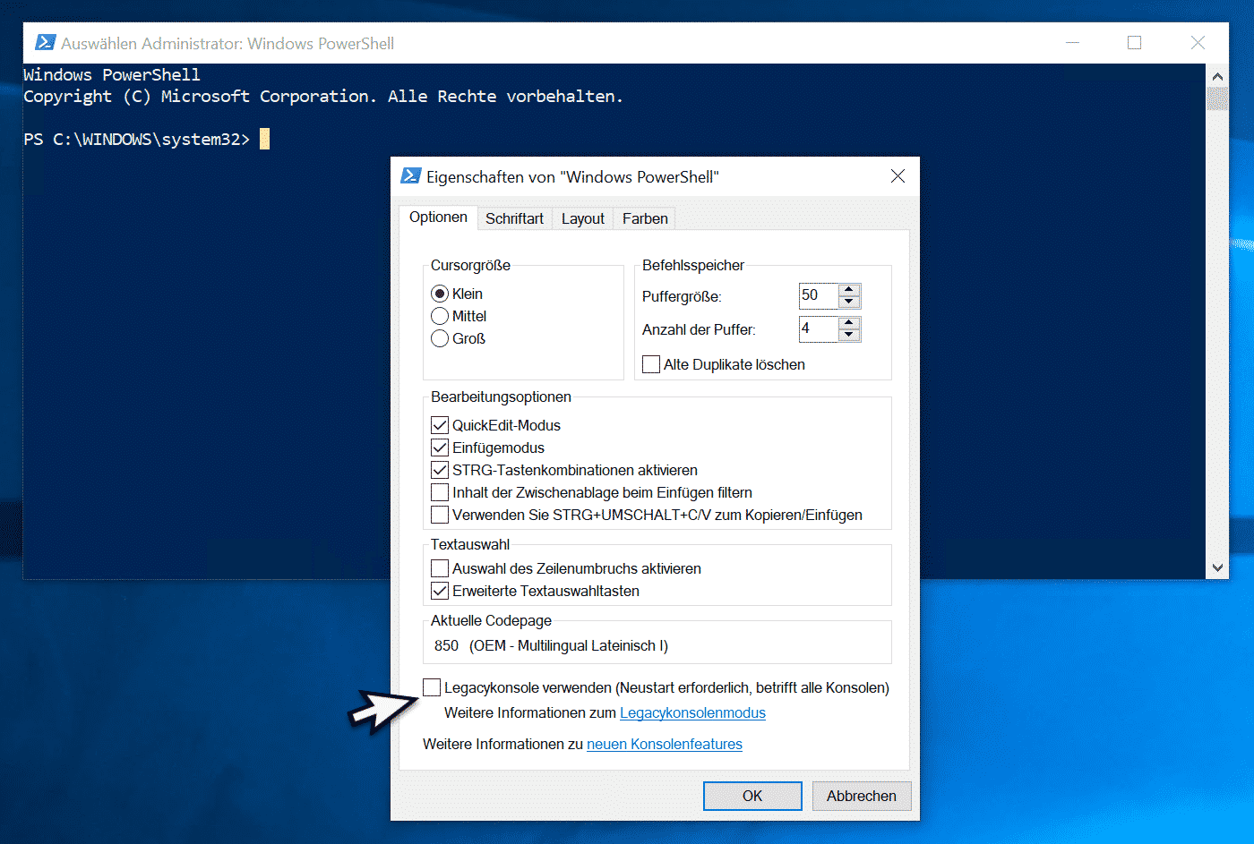 Legacykonsole deaktiviert PowerShell Konsole