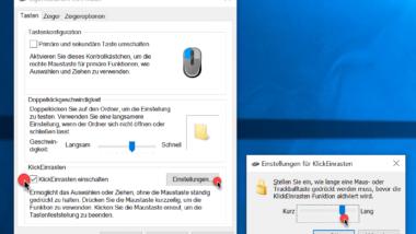 """Maus Funktion """"KlickEinrasten"""" aktivieren – Mausfunktionen ohne Drücken der Maustaste durchführen"""