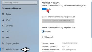 Mobilen Hotspot bei Windows 10 einrichten