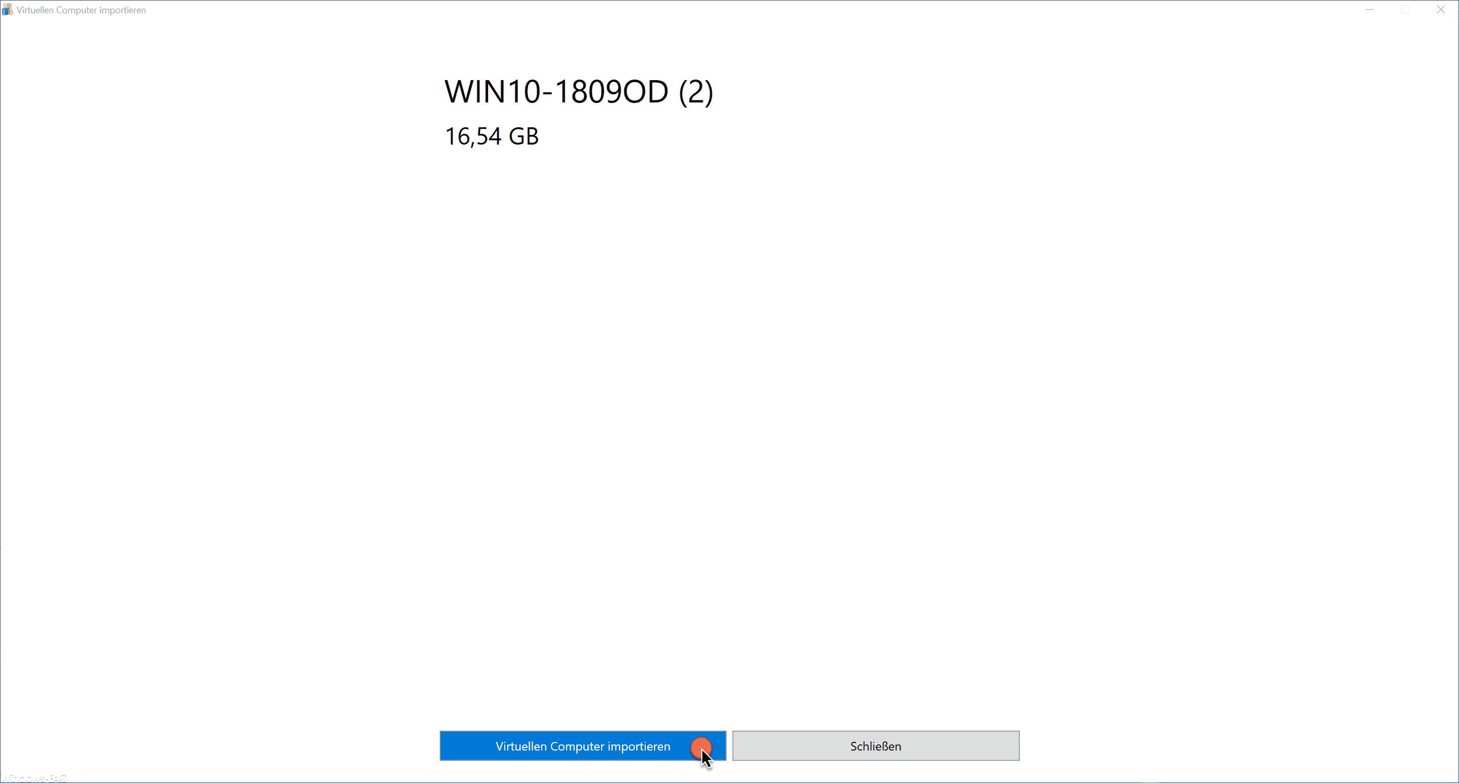 Virtuellen Computer importieren