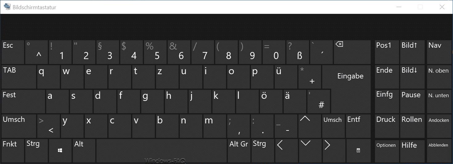 Windows 10 Bildschirmtastatur