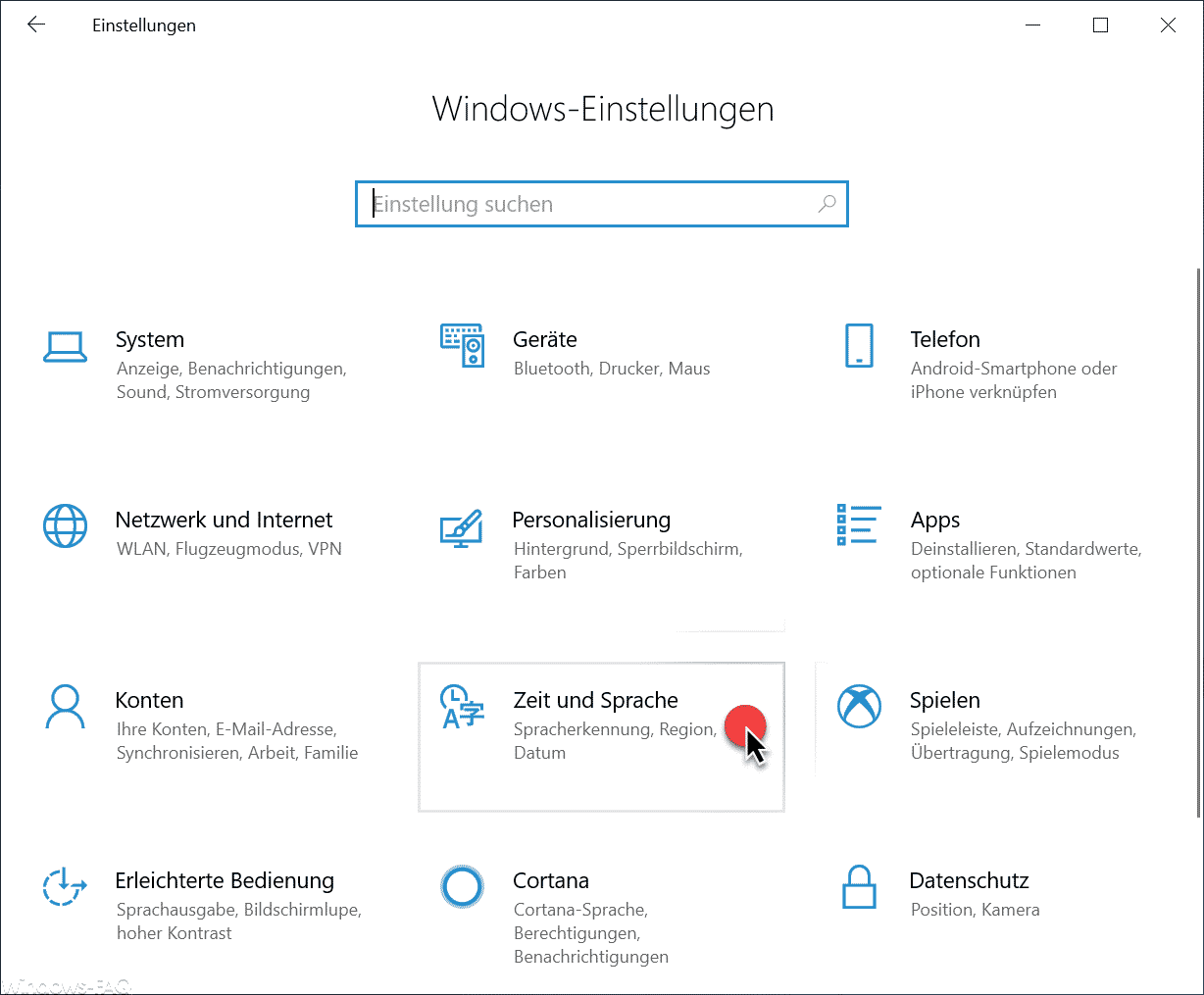 Zeit und Sprache, Spracherkennung, Region, Datum Windows 10