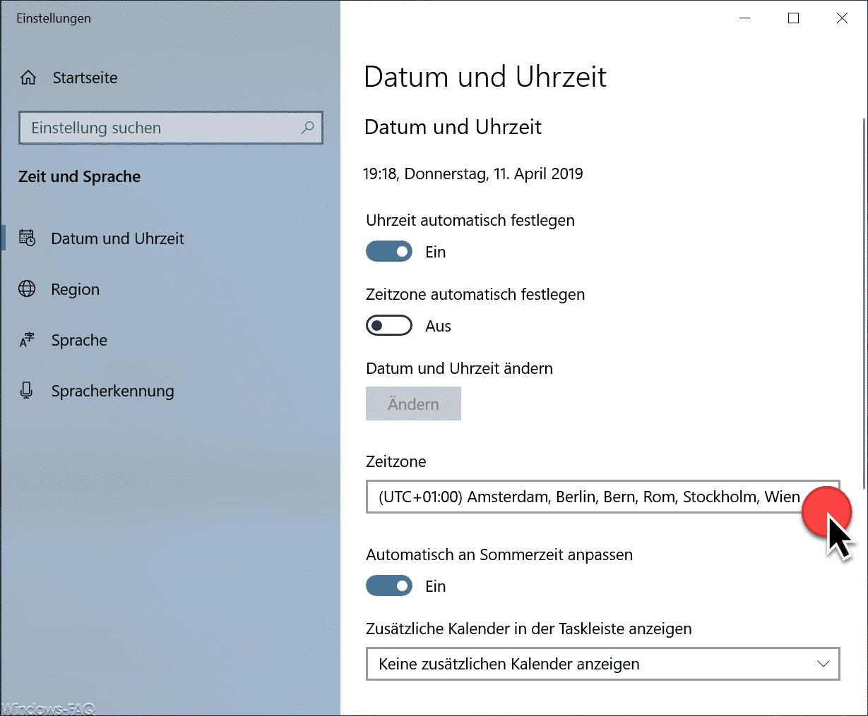 Zeitzone ändern Windows 10